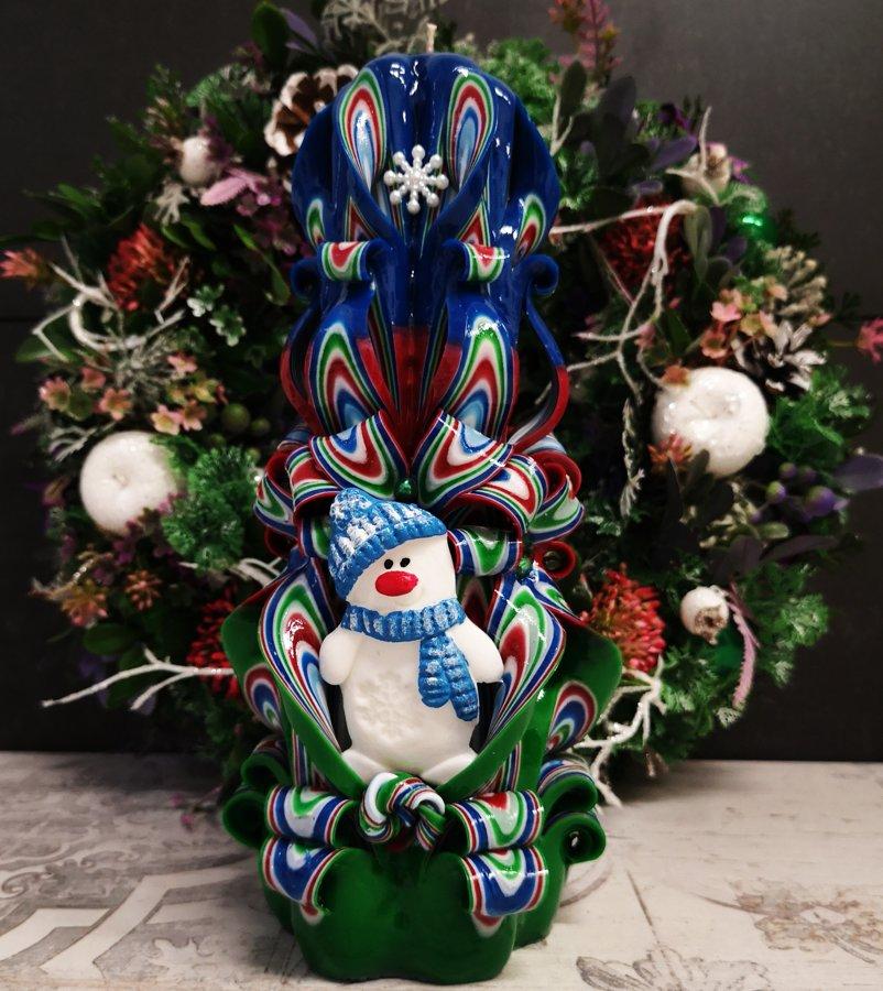 """22см """"Снеговик"""" расцветка сине-красно-зеленая"""