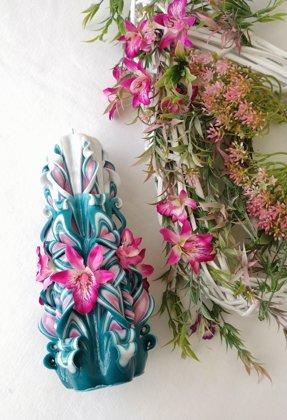 Свеча 22см_16 с орхидеями